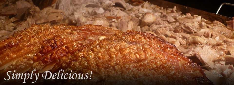 A delicious hog roast with crackling