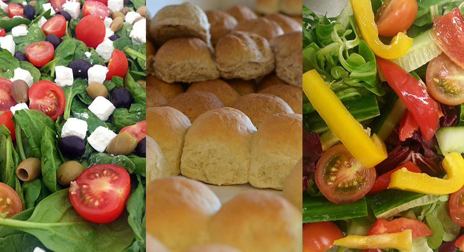 Salad and bread rolls