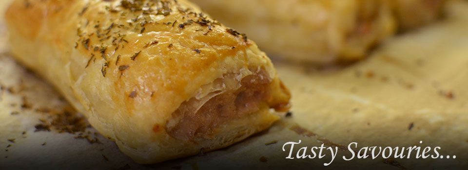 Tasty savouries - a yummy sausage roll, just cooked!